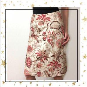 LOFT Silk A-line Floral knee length skirt (C4)